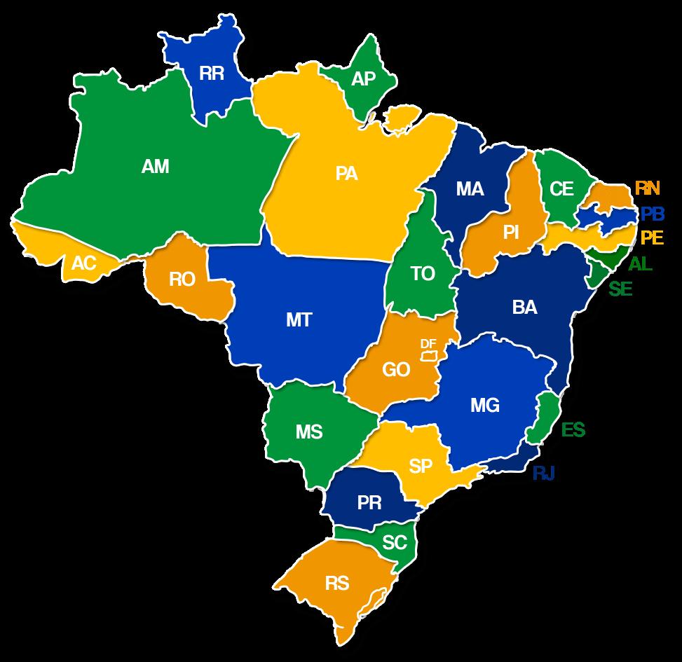 Imagem do Mapa do Brasil dividido em estados